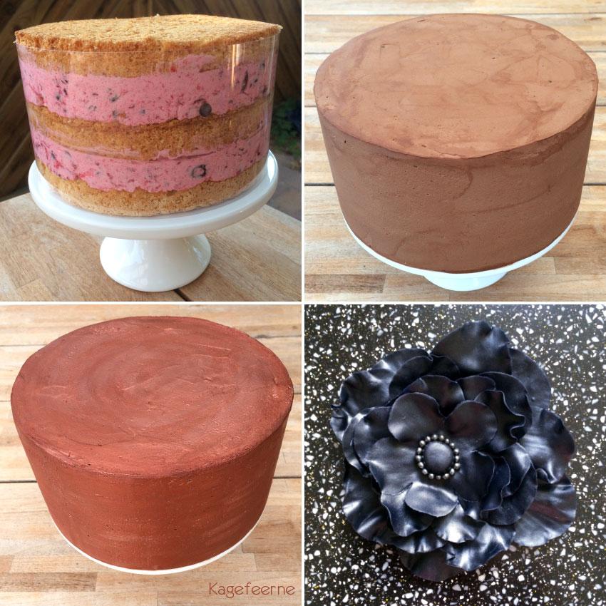 Rustik kobberfarvet stikkelsbær lagkage proces