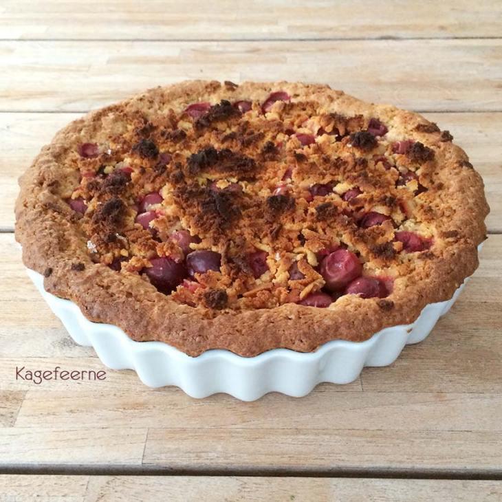 Lækker frugttærte med mandelbund og marcipan = stikkelsbær tærte