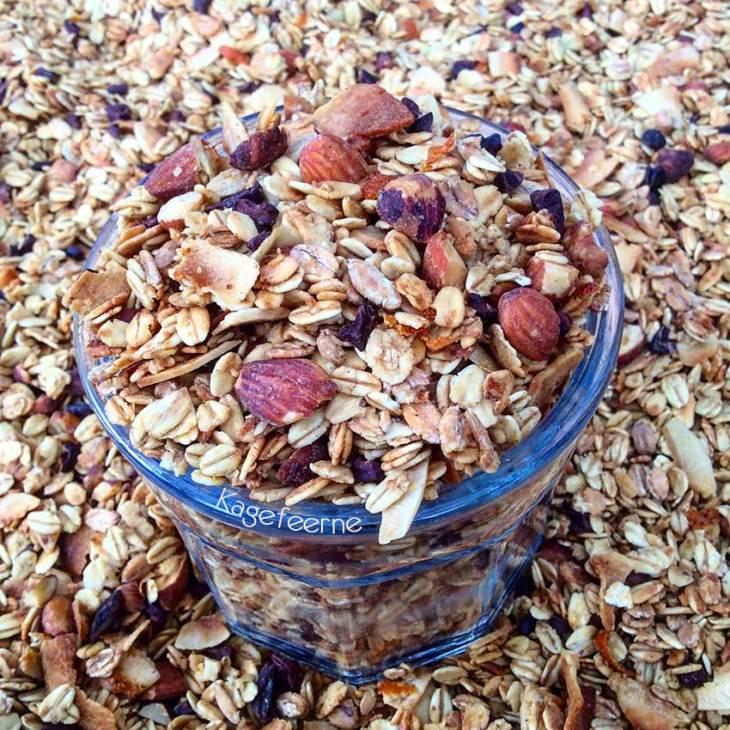 Lækker glutenfri og sukkerfri Granola med nødder, mandler, kokos og kakaonibs