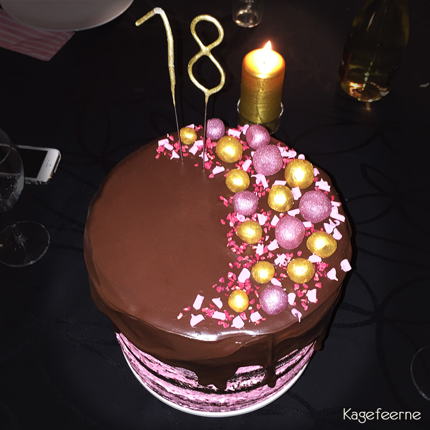18 years chocolate and raspberry birthday cake with ganache