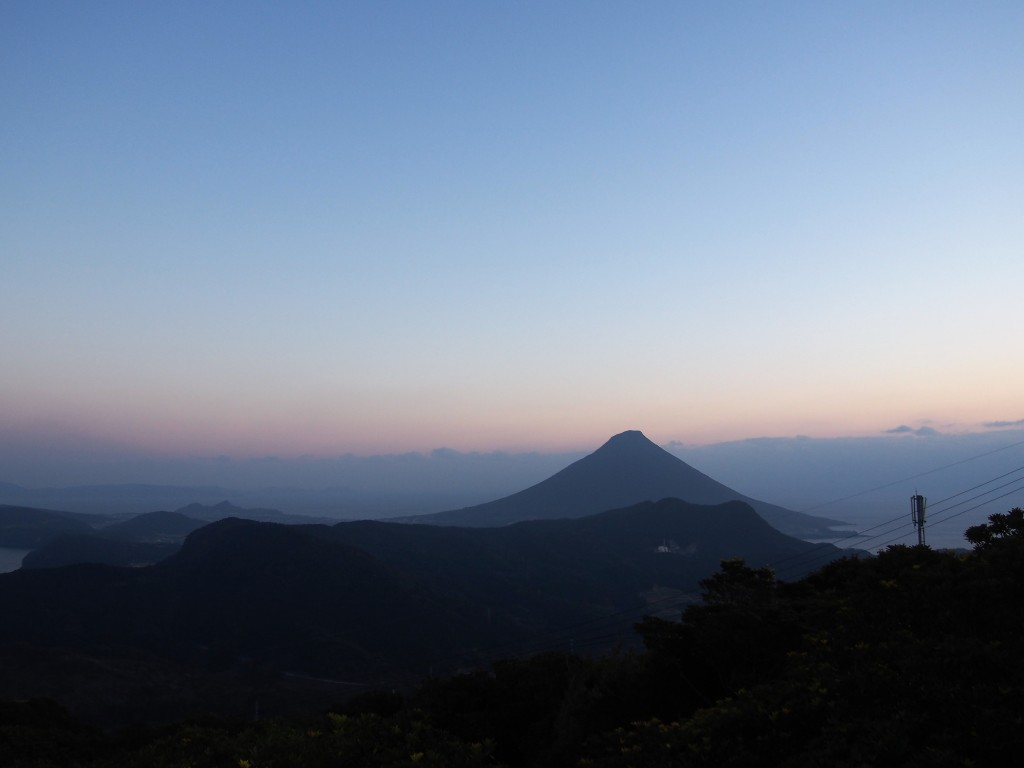 Sunst view of Mt. Kaimon from Mt. Oono