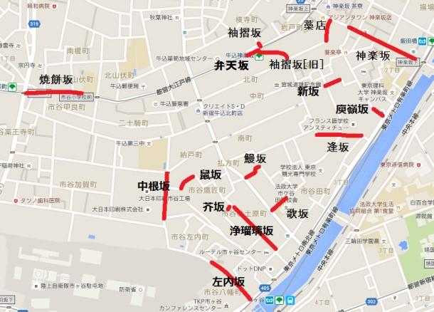 神楽坂周辺の地図