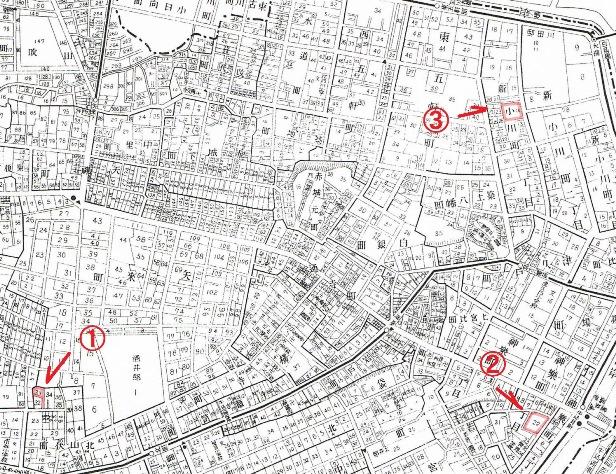昭和5年の牛込神楽坂の地図(赤は北原白秋の住居)