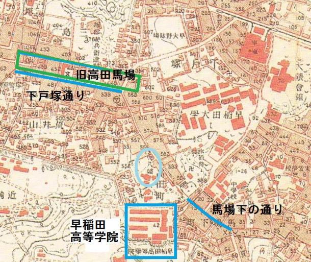 昭和五年戸塚・落合の地形図