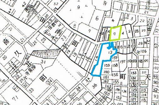 昭和5年の牛込区全図。緑色は漱石が住んだ場所。青色はおそらく田中三四郎の場所