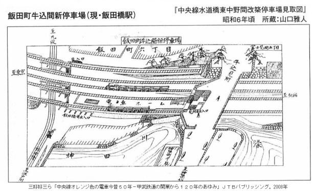 牛込見附、牛込橋と飯田橋駅。昭和6年頃