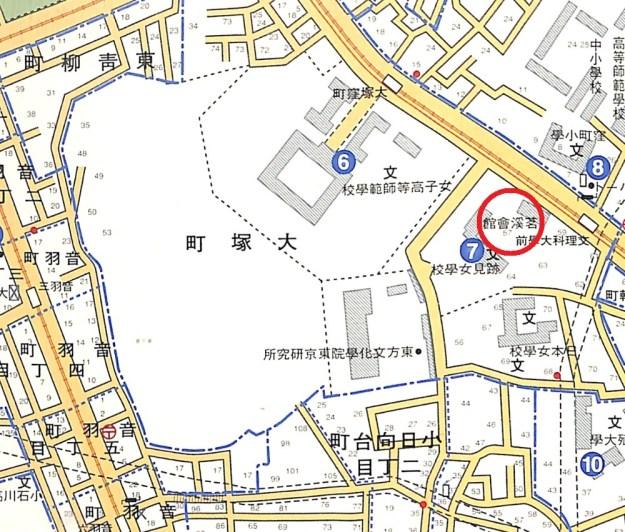 人文社「戦前昭和東京散歩」(2004年)から。大塚町57番地は赤丸。