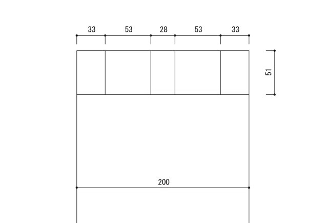 厚み50㎜幅200㎜の板での蟻加工基本線