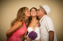Happy bride and her parents