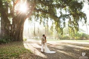 Newlyweds late afternoon at the Waimea Plantation Cottages on Kauai's west coast