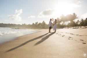 Kauai Wedding Photography - Newlyweds walking on the beach
