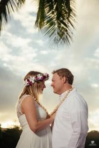 Kauai Photographer captures a sunset beach wedding on Anini Beach