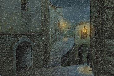 resim sokak yağmur