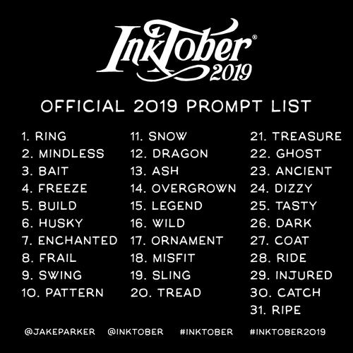 inktober 2019 promt list