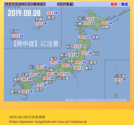 2019.08.08天気 熱中症に注意
