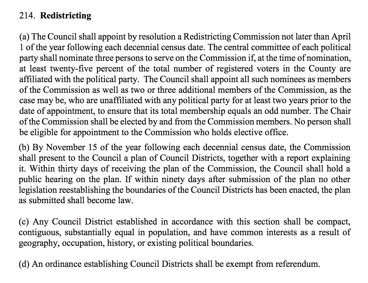 redistricting text from county charter