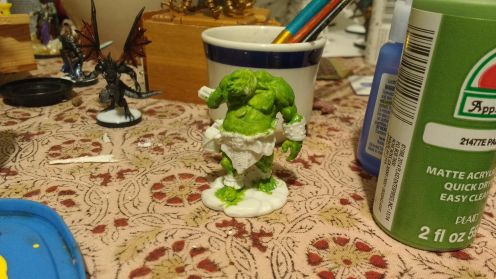I started with a green undercoat.