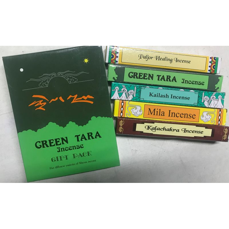 Тибетское Подарочное Благовоние Green Tara, подарочный набор из 5 благовоний