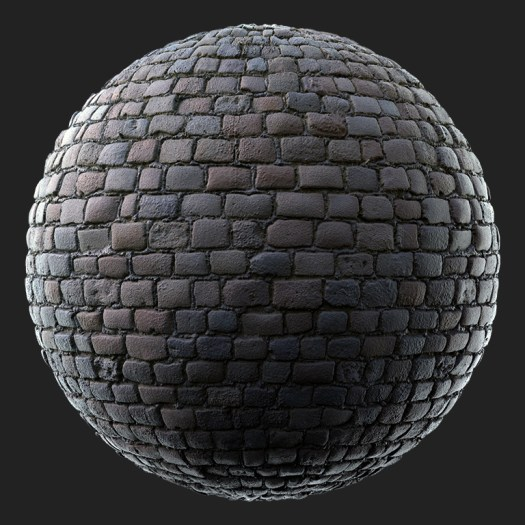 3D Scanned Seamless Cobblestone Pavement Material