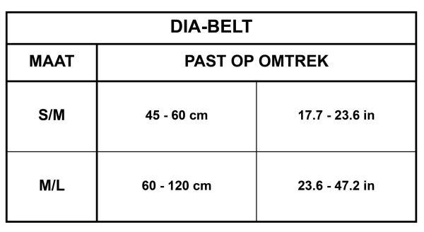 Maattabel Dia-Belt