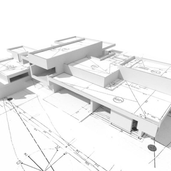 Étude de faisabilité pour la transformation d'une maison moderne en galerie d'art.