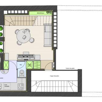 Plan de l'étage bas réaménagé