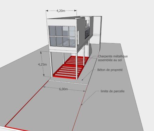 """PHASE 1 : - Assemblage au sol de la charpente métallique """"plateau"""" qui soutiendra la partie sur pilotis de la maison"""