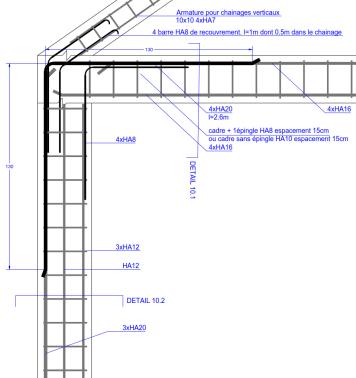 détail de ferraillage du portique