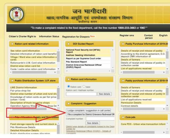 How to complain online for chhattisgarh ration card in Hindi )
