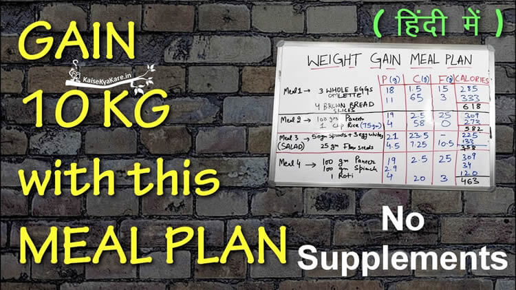 Diet Chart For Weight Gain in Hindi