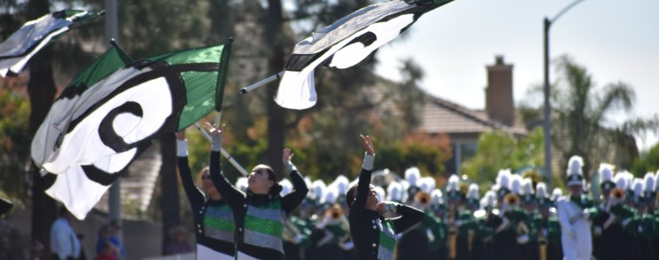 Kaiser Band and Color Guard performing in a band reivew