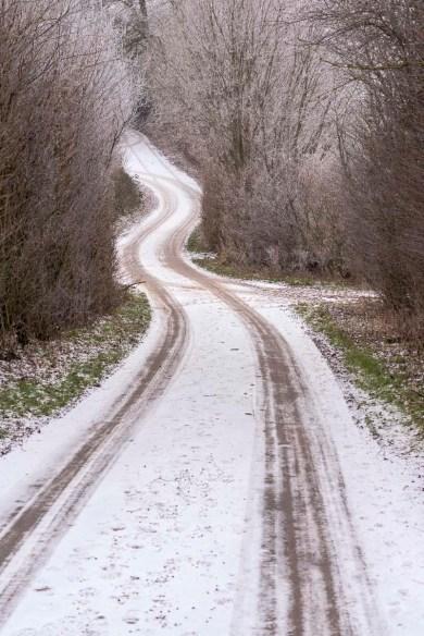 Redder mit Spuren im Schnee