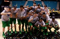 Oregon poses for pictures after winning the Pac-12 Tournament Championship at the MGM Grand Garden Arena in Las Vegas on Saturday, March 16, 2013. (Kai Casey/CU Independent)