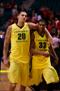 Waverly Austin (20) and Carlos Emory (33) walk off the court after a Pac-12 Tournament semifinal game at the MGM Grand Garden Arena in Las Vegas on Friday, March 15, 2013. (Kai Casey/CU Independent)