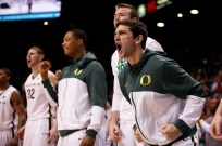 Nicholas Lucenti of Oregon reacts to a made bucket during a Pac-12 Tournament game at the MGM Grand Garden Arena in Las Vegas on Thursday, March 14, 2013. (Kai Casey/CU Independent)