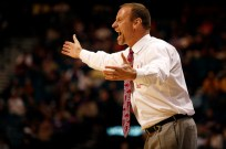 Utah head coach Larry Krystokowiak reacts to a call during a Pac-12 Tournament game against USC at the MGM Grand Garden Arena in Las Vegas on Wednesday, March 13, 2013. (Kai Casey/CU Independent)