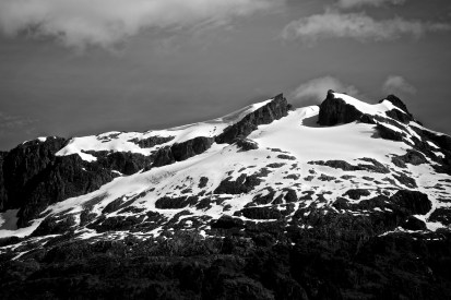 A snow cover mountain top in Kenai Fjords National Park.
