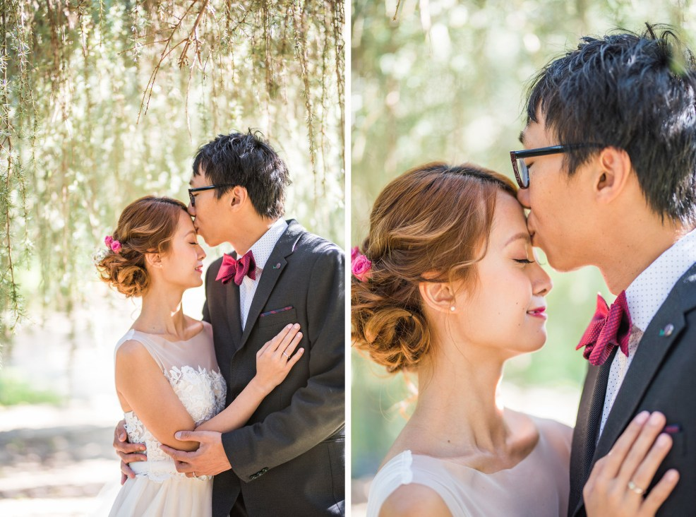 forehead kiss couple garden wedding