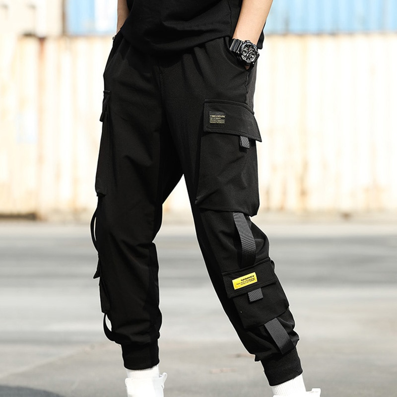 Men Elastic Waist Punk Pants Ribbons Casual Slim Jogger Pants