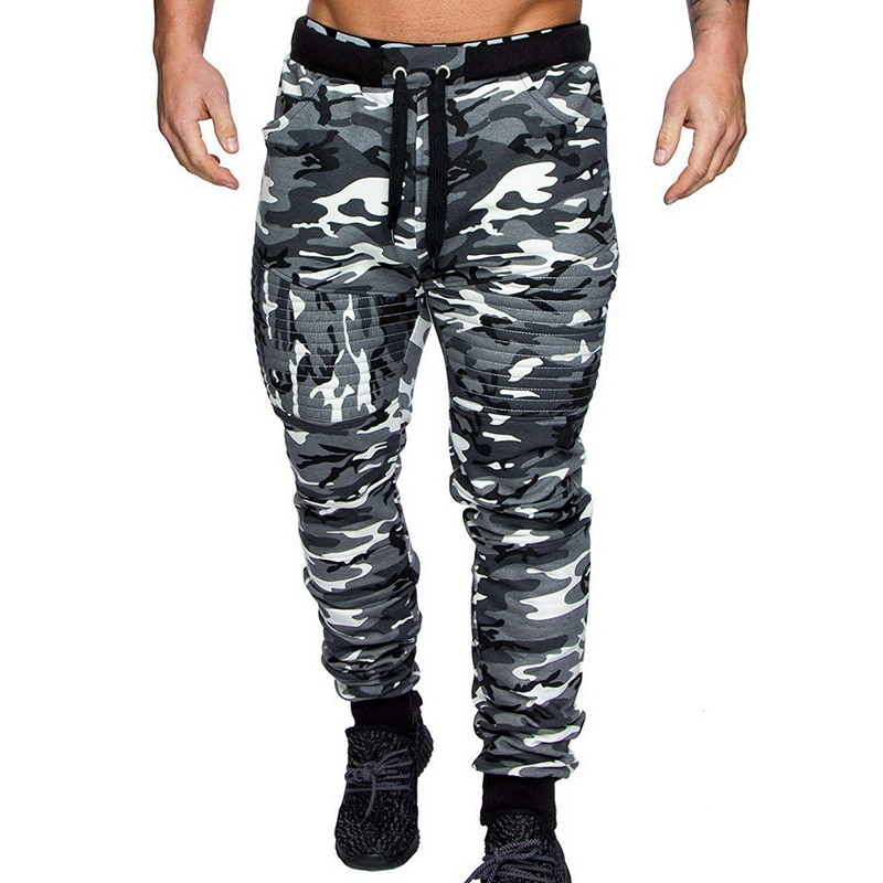 Mens Winter Warm Clothes Drawstring Camouflage Jogger