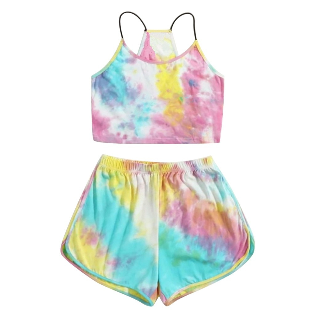 Tie-dye Print Cami Belt Top And Pants Suit Two Piece Set