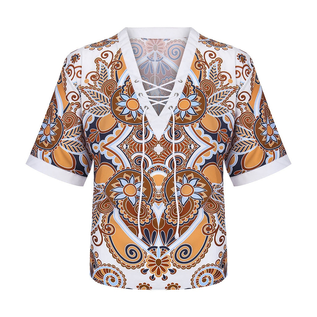 Fashion Vintage Printed Tethered Neckline Half Sleeve Top Stylish Blouse Shirts