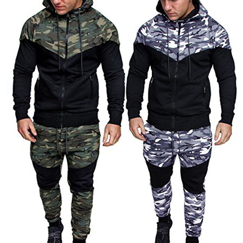 Tracksuit Men Spring Camouflage Sweatshirt Top Pants Sets