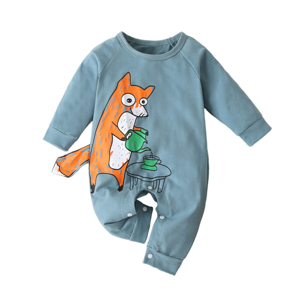 Long Sleeve Cartoon Animal Letter Romper Jumpsuit Clothes