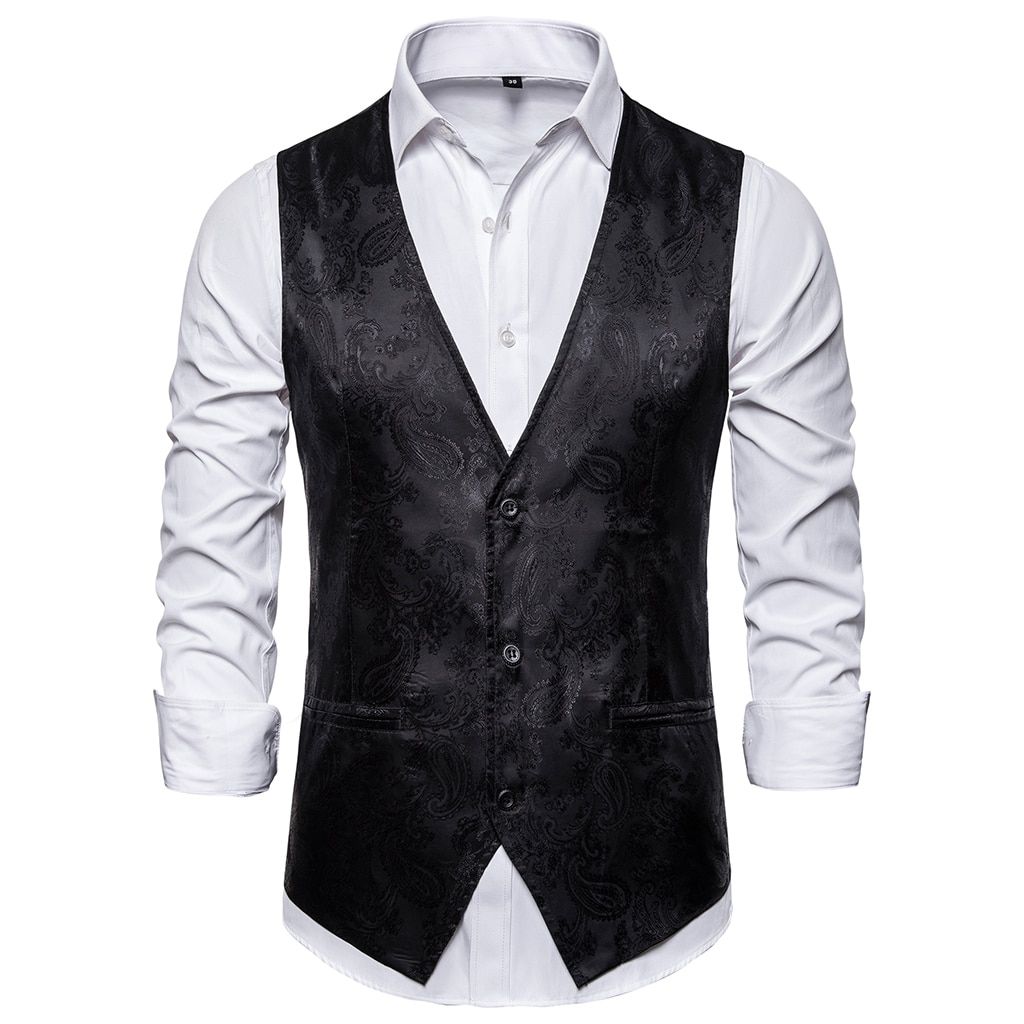 CYSINCOS Printed Steampunk Vest Men Brand Clothing
