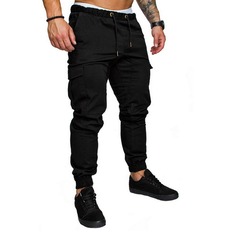 Solid Multi-pocket Pants Homme Sweatpants