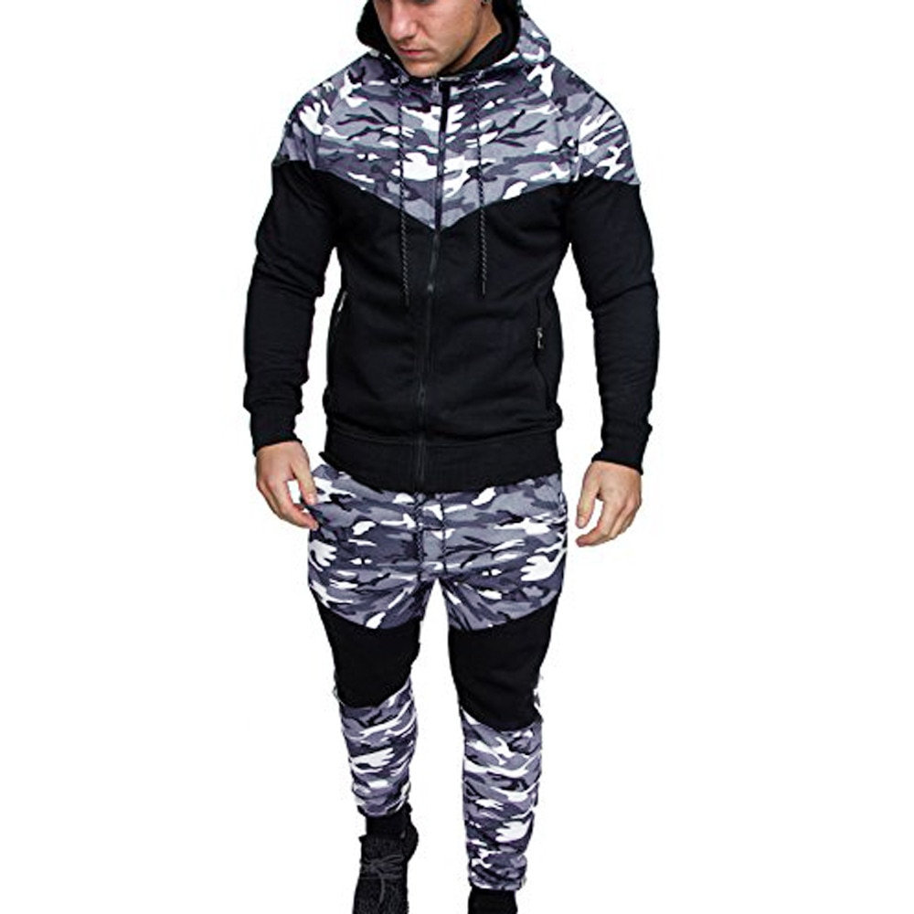 Tracksuit Men Spring Camouflage Sweatshirt Top Pants Sets