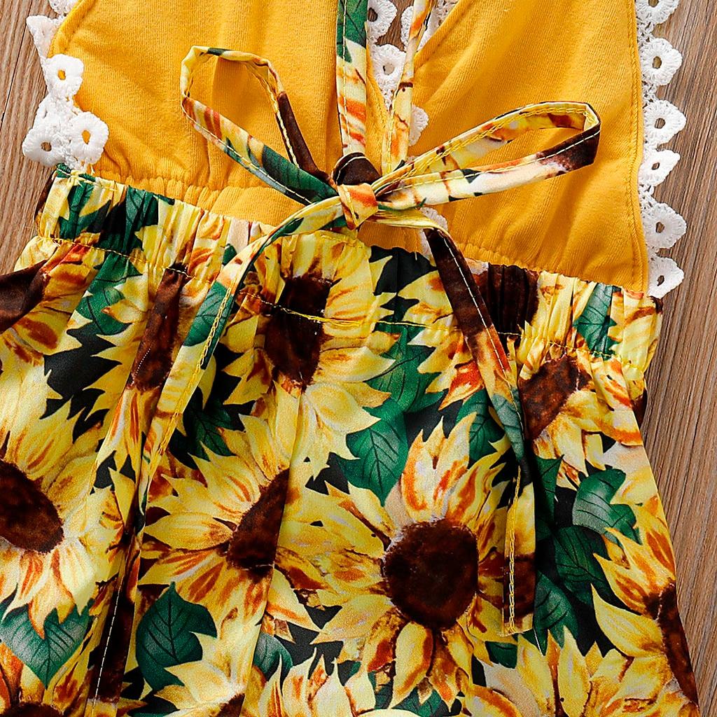 Girls Boy Lace Backless Sunflower Romper Jumpsuit Clothes