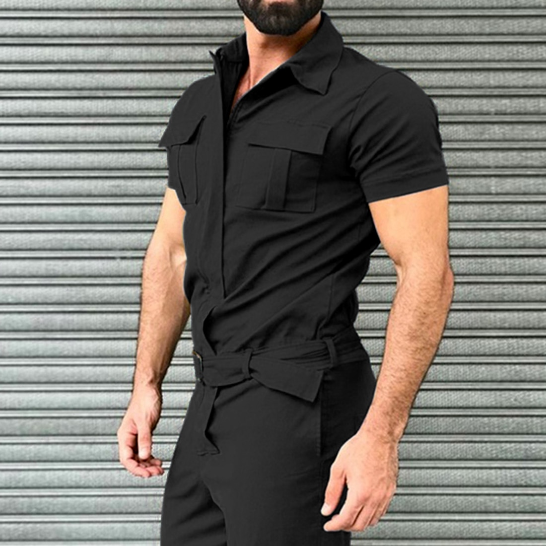 New Cotton Blends Jumpsuit Mens Overalls Casual Notched Short Sleeve Rompers