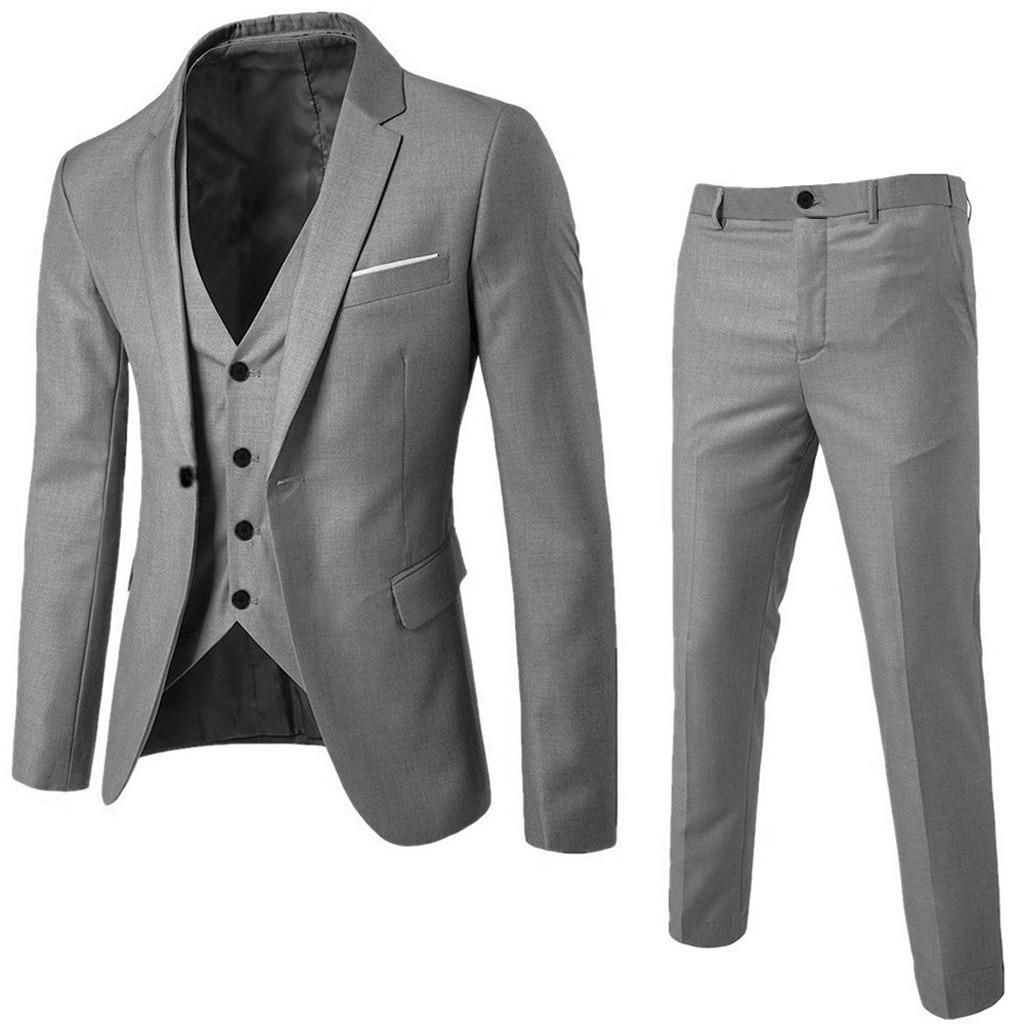 Men's Slim Business Wedding Party Suit 3 Piece Set